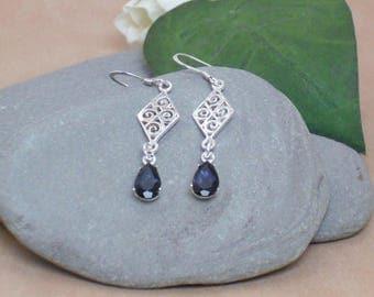 Earrings Tanzanite Sterling Silver Dangle Earrings, Purple Stone Earrings, Genuine Tanzanite Teardrop Earrings, 7x5mm Pear Cut Gemstones