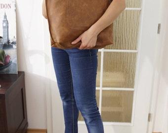 Leather tote, leather tote bag, big leather tote, leather tote woman, leather tote women, Large Leather Tote, Ria - distressed tan