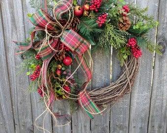 Christmas Wreath, Plaid Christmas Wreath, Fruit Wreath, Twine and Berries Christmas Wreath, Pomegranate Wreath, Cedar Wreath, Berry Wreath