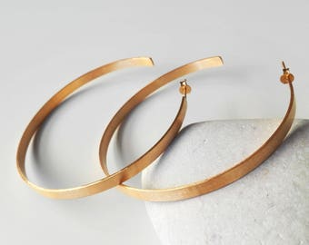 SALE, Large Hoop Earrings, Gold Hoops, Gold Anniversary, 24K Gold Plated Hoops, Geometric Earrings, Oversized Open Hoops, Modern earrings