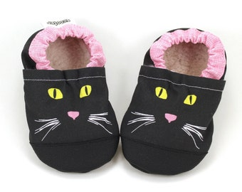 cat shoes baby cat face shoes with cat face baby girl shoes black cat shoes pink and gray soft sole shoes with cats vegan baby shoes cats