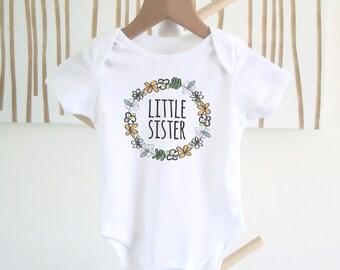 New Baby Onesie / LITTLE SISTER / Baby Girl Bodysuit / Little Sister Outfit / Baby GirlS Onesie / Floral One Piece / Baby Girl Gift / Baby