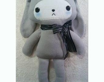 Gray Anti-Pill Soft Polar Fleece Pink Kawaii Bunny Rabbit Stuffed Animal Plush Handmade Toy Roxxi1018