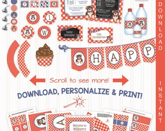 Teddy Bear Picnic (Red-Blue) Printable Party Kit | Teddy Bear Invite & Decorations | INSTANT DOWNLOAD-Edit in Adobe Reader | PaperCraftParty