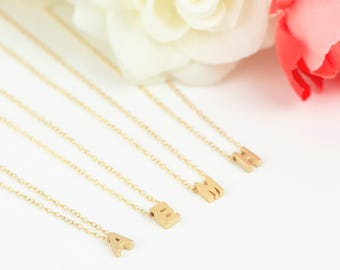 24k Gold Initial Necklace • Tiny Initial Necklace • Gold Initial Pendant • Letter Necklace • Personalised Necklace • Custom Initial Necklace