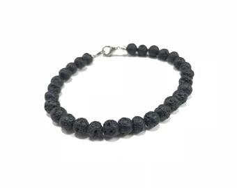Black Lava Bracelet, Lava Beads Bracelet, Lava Rock Bracelet, Black Beaded Bracelet, Lava Stone, Mens Bracelet Rocker Surfer Oil Diffuser
