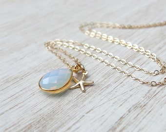 Opal necklace Bridesmaids jewelry gift Wedding Jewelry for bridesmaid Bridesmaid necklace October birthstone gold opal necklace Opal jewelry