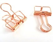 Set of 2 rose gold MEDIUM Binder Clips — Frame Clips - Hollow Out Long Tail Clip - wire clips