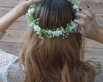Baby's breath flower crown, bridal flower crown, flower crown wedding, baby's breath headband