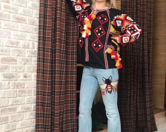 Ukrainian blouse vishivanka with Ukraine embroidery vyshyvanka for women black linen shirt boho clothing bohemian plus size long sleeve
