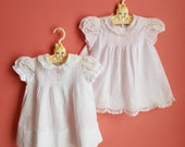 Vintage Cotton Baby Dresses and Slip * Size 6 to 12 months * 3 piece lot
