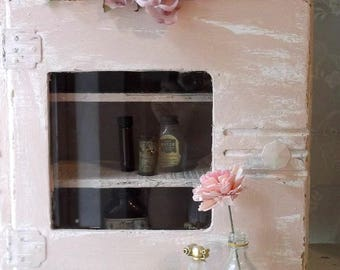 French Country Wall Cabinet. Apothecary Medicine Cabinet. Kitchen Spice Storage Cabinet. Cottage Wall Cabinet. Shabby Chic Pink