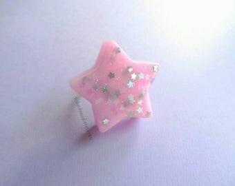 Star Celestial Pink Ring - Lolita- Gothic - Kawaii- Magical- Sweet-Pastel- Fairy Kei