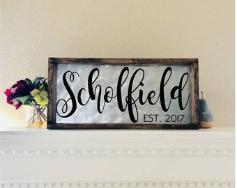 Personalized Sign for Home Family Established Sign Rustic Wood Family Name Sign Established Sign Fixer Upper Style Decor Fixer Farmhouse