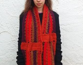 Chunky maxi scarf crochet pattern. Multi color crochet scarf pattern // PERU scarf Pattern _ M61