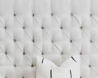 Modern White Mali Mud Cloth Pillow Cover, African Mudcloth, Boho, Throw Pillow, Linen, Modern Print Pillow