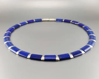 Lapis Lazuli collier/necklace with Sterling silver - natural genuine Lapis Lazuli - Statement Necklace - blue and silver jewelry -