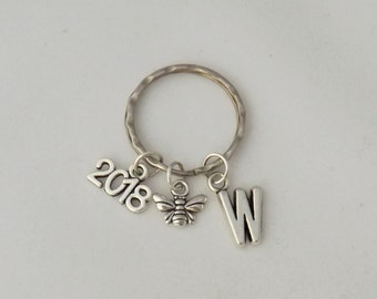 Bumblebee keyring gift, honey bee insect keyring, bee keeper charm gift, queen bee keyring, busy bee keyring, bee lover gift