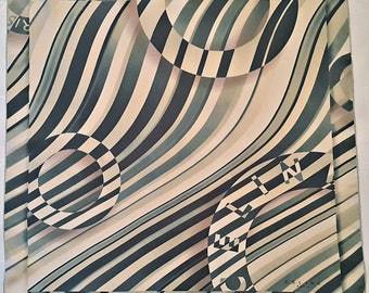 """Vintage Authentic Celine Paris Geometric Art Perspective Silk 26"""" Square Scarf"""