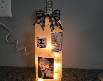 Coco Chanel Audrey Hepburn Marilyn Monroe Wine Bottle Lamp