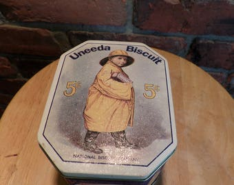 Uneeda Biscuit Tin, Vintage Advertising, Vintage Tin, Boy on Tin, Biscuit tin, farmhouse decor
