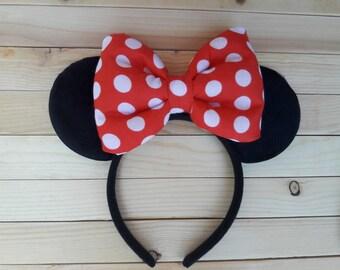 Classic Minnie Ears with Stuffed Bow, Minnie Ears with Red Polka Dot Bow,  Minnie Ears, Mouse Ears