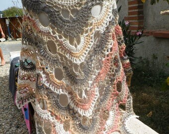 """shawl, crocheted wool mohair mixed """"Eléonore"""""""