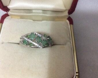 Elegant genuine Brazilian Emerald Sterling silver cluster ring