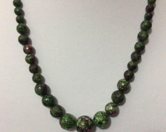 Ruby Zoisite faceted stone necklace