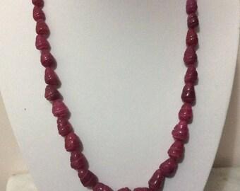 Raw Ruby stone necklace