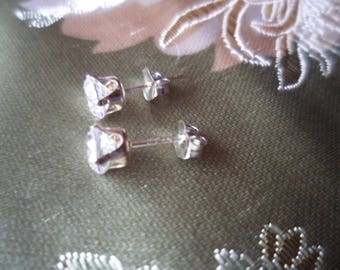Antique Vintage 14KT White Gold Earrings with Round White Sapphire Stones 14 kt ear rings short posts 8 mm long