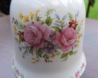 Vintage Sadler China Pink Roses Bell Collectible