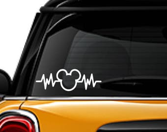Mickey Mouse heartbeat decal, FREE SHIPPING, white vinyl decal, #disney mickey mouse decal, car decal, sticker, home decor, heartbeat #190