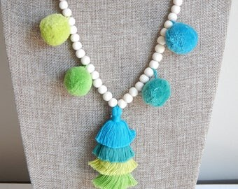 Tiered tassel necklace with pompoms, bohemian style, beach boho, wood beads, beach necklace, summer boho necklace, seafoam green pompoms