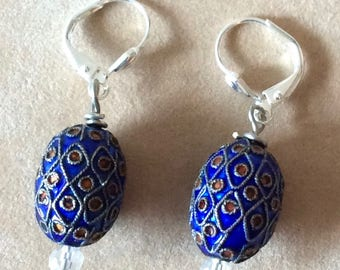Royal Blue French Cloissone Earrings