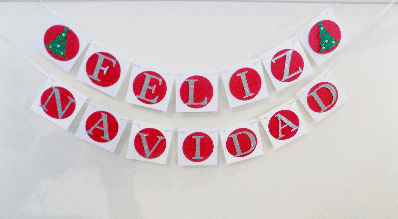 Feliz navidad banner silver and red holiday banner merry feliz navidad banner silver and red holiday banner merry christmas seasons greeting kristyandbryce Choice Image
