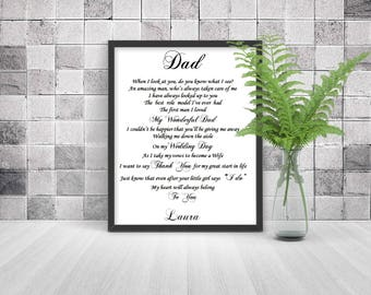 Father of Bride gift from Daughter, UNFRAMED print for Dad, Father Daughter gift, Thank you gift, wedding gift parents, parents wedding gift