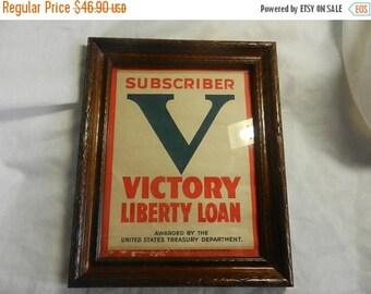 Summer Sale Vintage WW2 Subscriber Victory Loan Window Poster Framed