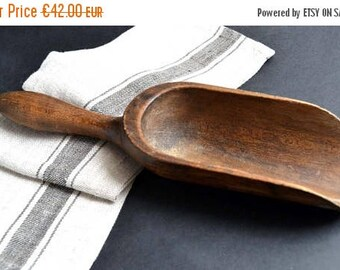 25% SALE Antique French Rustic Large Wooden Scoop Serving Spoon Food
