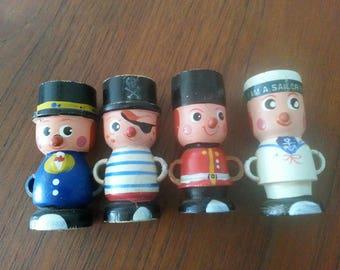 Vintage wooden egg cups sailor / pirat