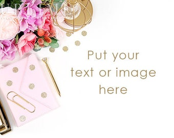 Styled Stock Photography / Desktop Styled / Styled Desk / Digital Background / Flowers / Notebook / Photo Background / StockStyle-920