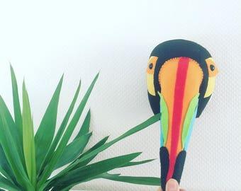Felt toucan, toucan head, animal mount, bird mount, bird head, nursery decor, childrens room, kids room decor