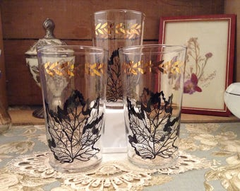 Set of 3 Vintage Black and Gold Leaf Pattern Drinking Glasses by Federal Glass