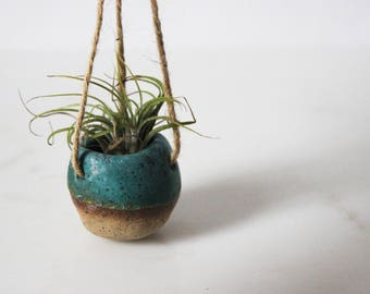 Pebble Hanging Air Planter - Turquoise