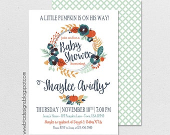 Little Pumpkin Baby Shower Invitation 1, Customized, Digital File