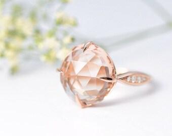 7.00 Ct. Rose Cut Morganite & Diamond Engagement Ring on 14K Rose Gold