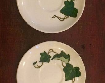 Metlox Poppytrail California Ivy Saucers Set of 4 Cottage Saucers Poppytrail Ivy Green Vine Dishes Cottage Chic Dishes