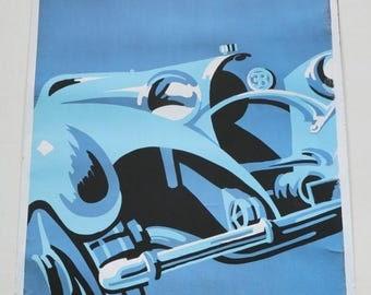 """Rare Gerold Hunziker Art Deco """"Bugatti"""" Lithograph Posters"""
