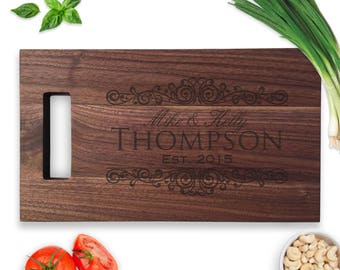 Family Name Engraved Cutting Board, Established, Personalized Cutting Board, Laser Engraved, Wedding Gift, Wood Anniversary Gift