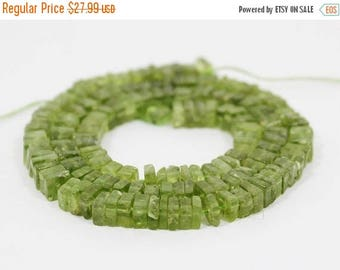 71% SALE Peridot Heishi Square cut Beads FULL Strand 5.5 to 6.5mm  Natural Stone 7.5 inches length HB-2